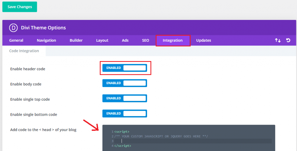 add custom javascript and jquery to divi