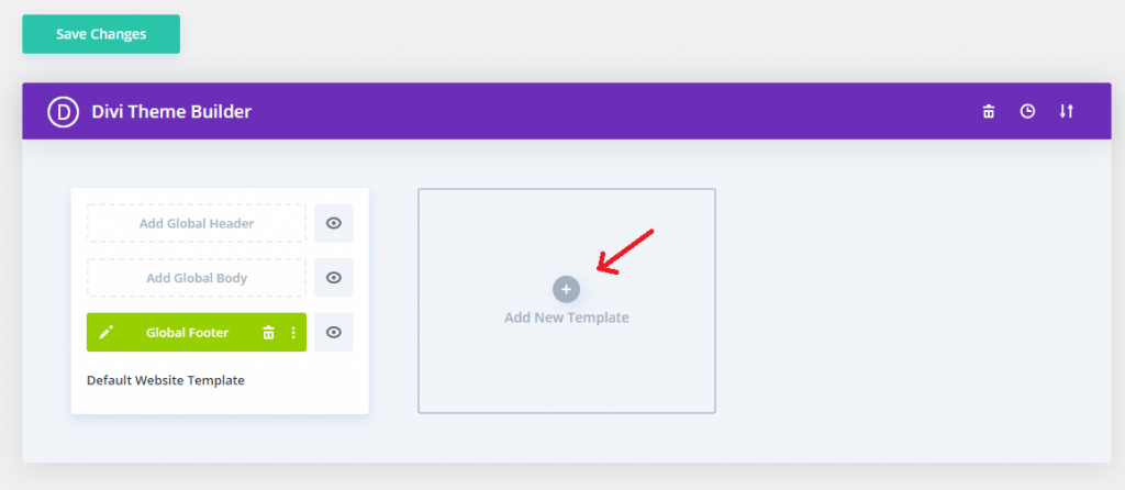 assign global custom footer in divi theme