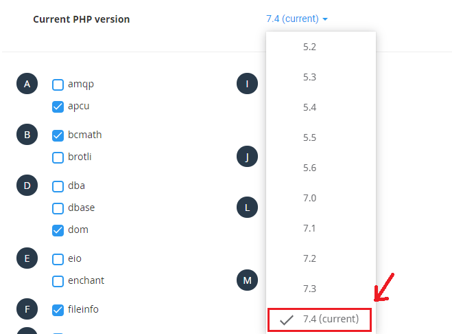 change php version on Cpanel