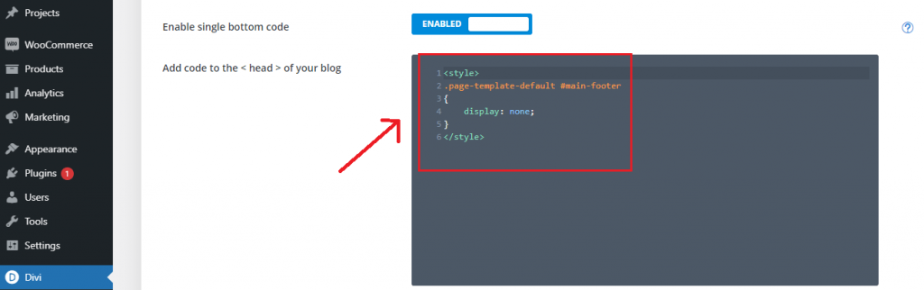 remove divi footer from all pages